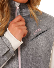 Grey/White | XTM Womens Thea Snow Jacket. Close up of main zipper