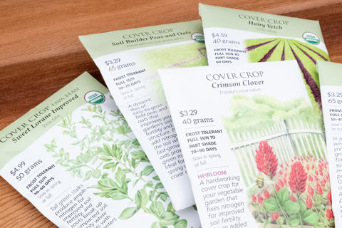 Seed packets of fall cover crops