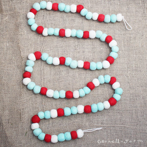 "96""Wool Ball Garland, turquoise, red, ivory 96in"