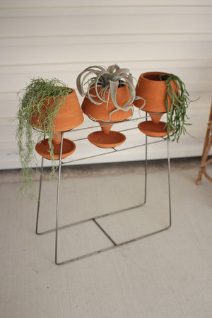 "Three Clay Pots and Wire Base Set, 10.5"" x 25"" x 30""t"