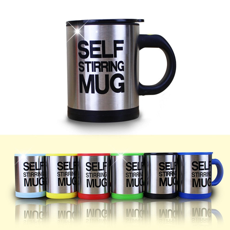 Silver Stainless Steel Self-stirring Coffee Mug 8oz