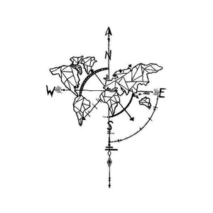World Compass Temporary Tattoo