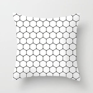Decorative Black And White Pillowcases | Geometric, Hearts, Stars & Other Patterns - OFFLIVING.