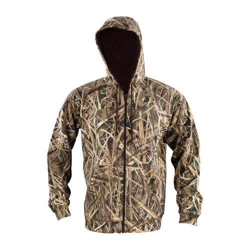 Men's Zip Fleece Hoodie in Mossy Oak Shadow Grass Blades Camo Print