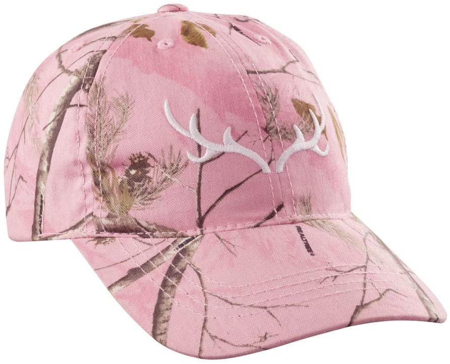 Muscogee Mills Realtree AP Pink Ladies Hat with White Horn Logo