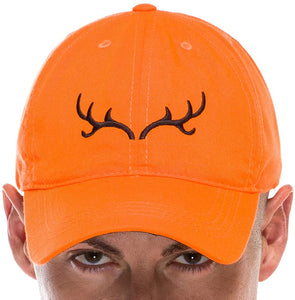 Adult Hunting Baseball Cap in Blaze Orange with Embroidered Brown Antler