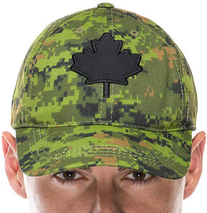 Adult Baseball Cap in Canadian Digital Camo with Embroidered Black Maple Leaf