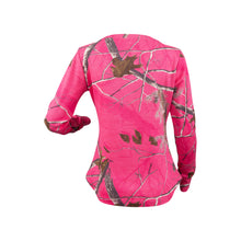 Ladies Long Sleeve Henley Shirt in Realtree AP Pink Camo Print