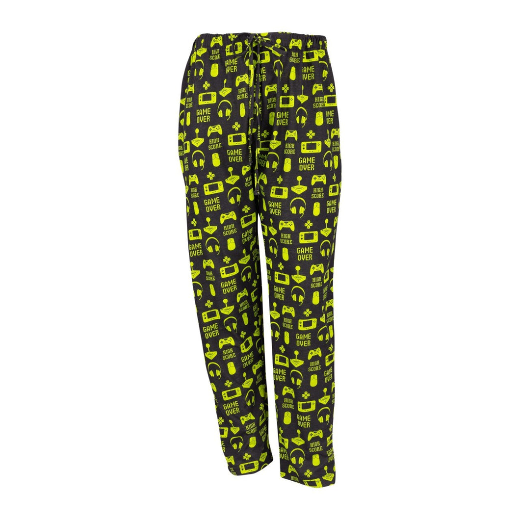 Men's Lounge Pants in Gamer Graphic Print (Black/Lime)