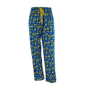 Men's Lounge Pants in Gamer Graphic Print (Blue/Gold)