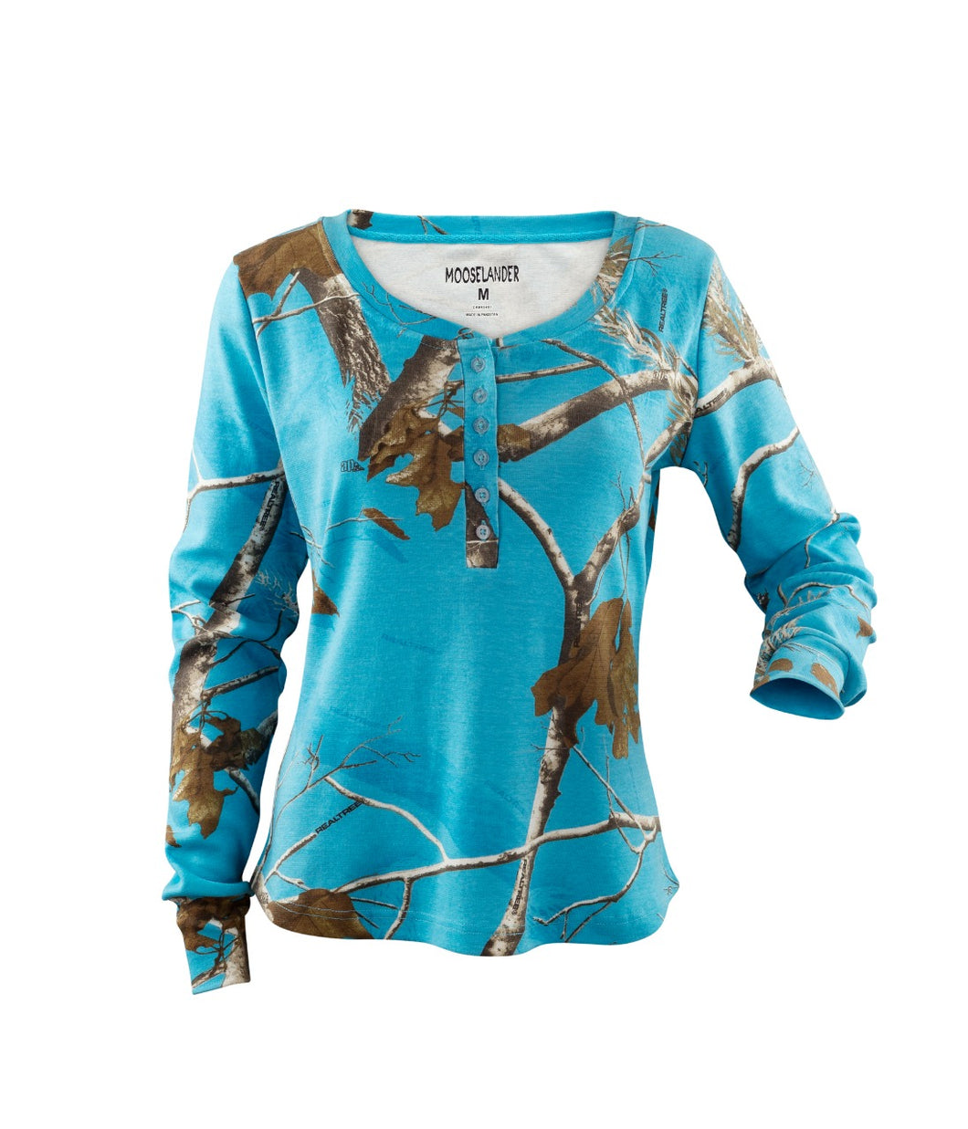 Ladies Long Sleeve Henley Shirt in Realtree AP Blue Fish Camo Print