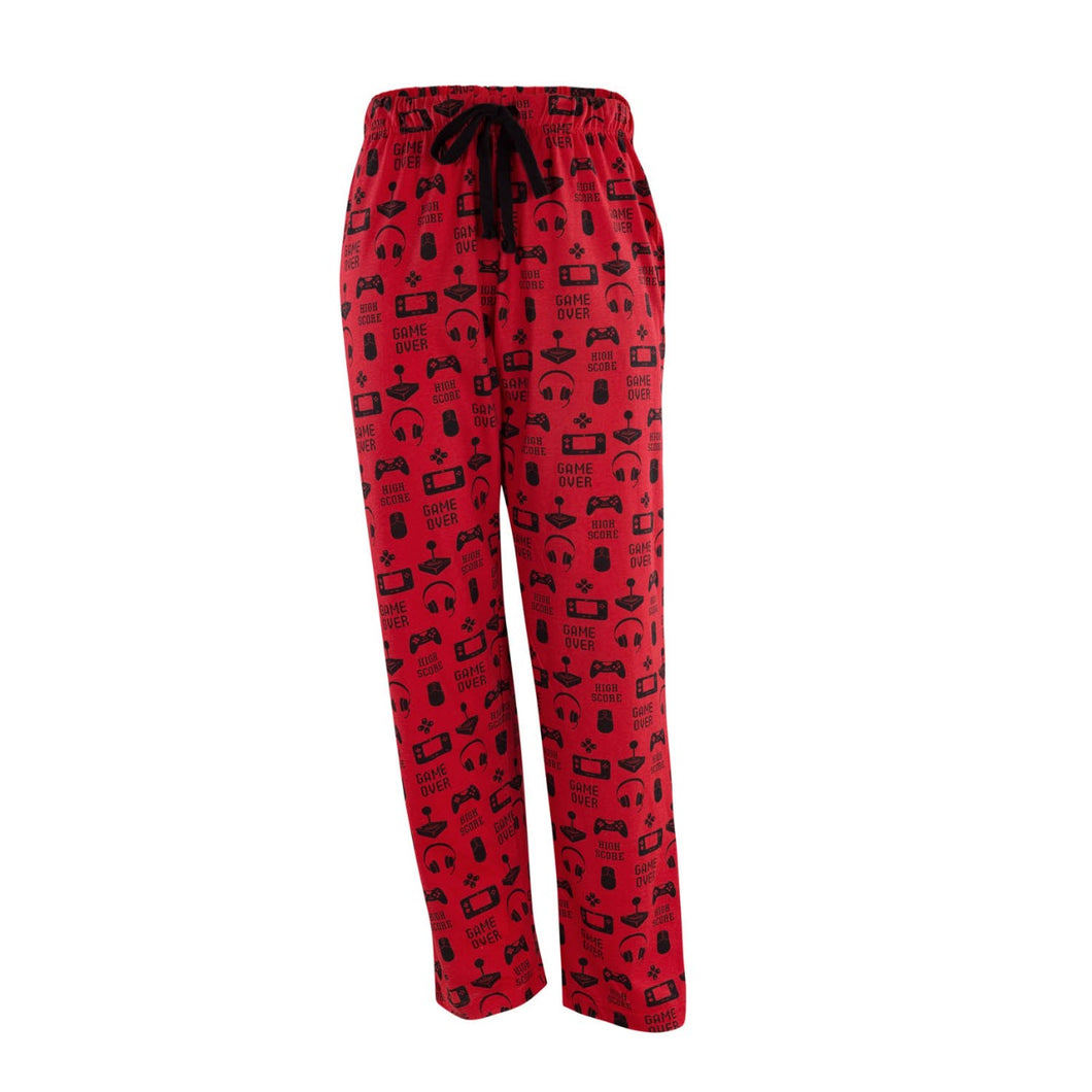 Men's Lounge Pants in Gamer Graphic Print (Red/Black)