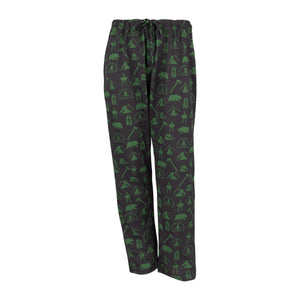 Men's Lounge Pants in Camping Graphic Print (Black/Green)
