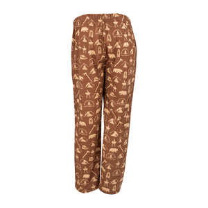 Youth Lounge Pants in Camping Graphic Print (Chocolate/Sand)