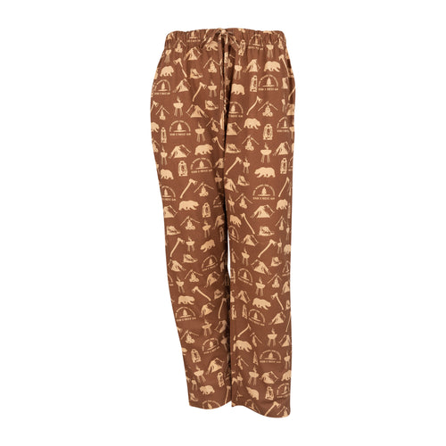 Men's Lounge Pants in Camping Graphic Print (Chocolate/Sand)