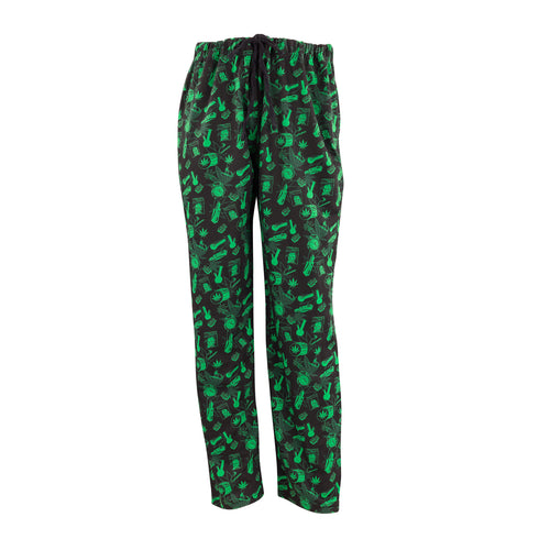 Men's Lounge Pants in Smoke Graphic Print (Black/Green)