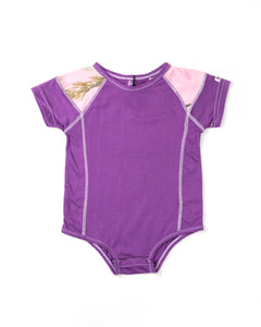 Infant Colorblocked Onesie in Purple with Realtree Camo Accents