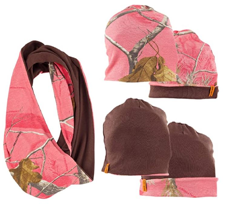 Ladies Reversible Beanie + Infinity Scarf Set in Realtree AP Sugar Coral Camo Print