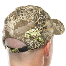 Adult Hunting Baseball Cap in Realtree Camo Print with Embroidered Brown Antlers