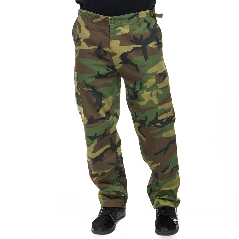 Men's Military BDU Six Pocket Pants in Woodland Camo Print