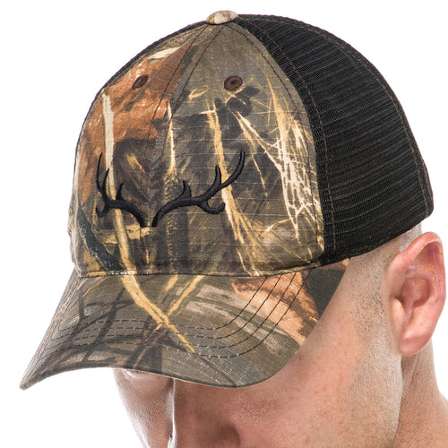 Adult Trucker Hat in Realtree Camo with Embroidered Black Antlers