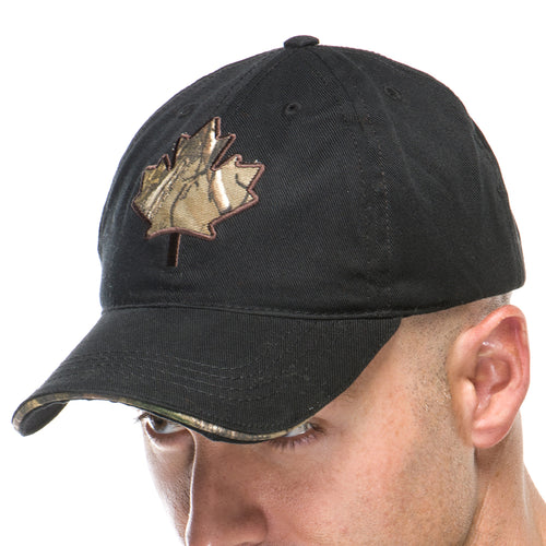 Adult Baseball Cap with Canadian Maple Leaf Embroidery in Realtree Camo Print