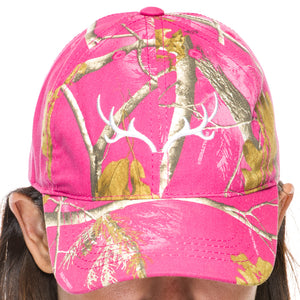 Ladies Baseball Cap in Realtree AP Hot Pink Camo Print with White Antler Embroidery