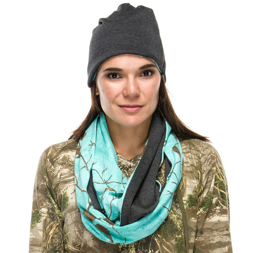 Realtree Ladies Scarf and Beanie set AP Sea Glass