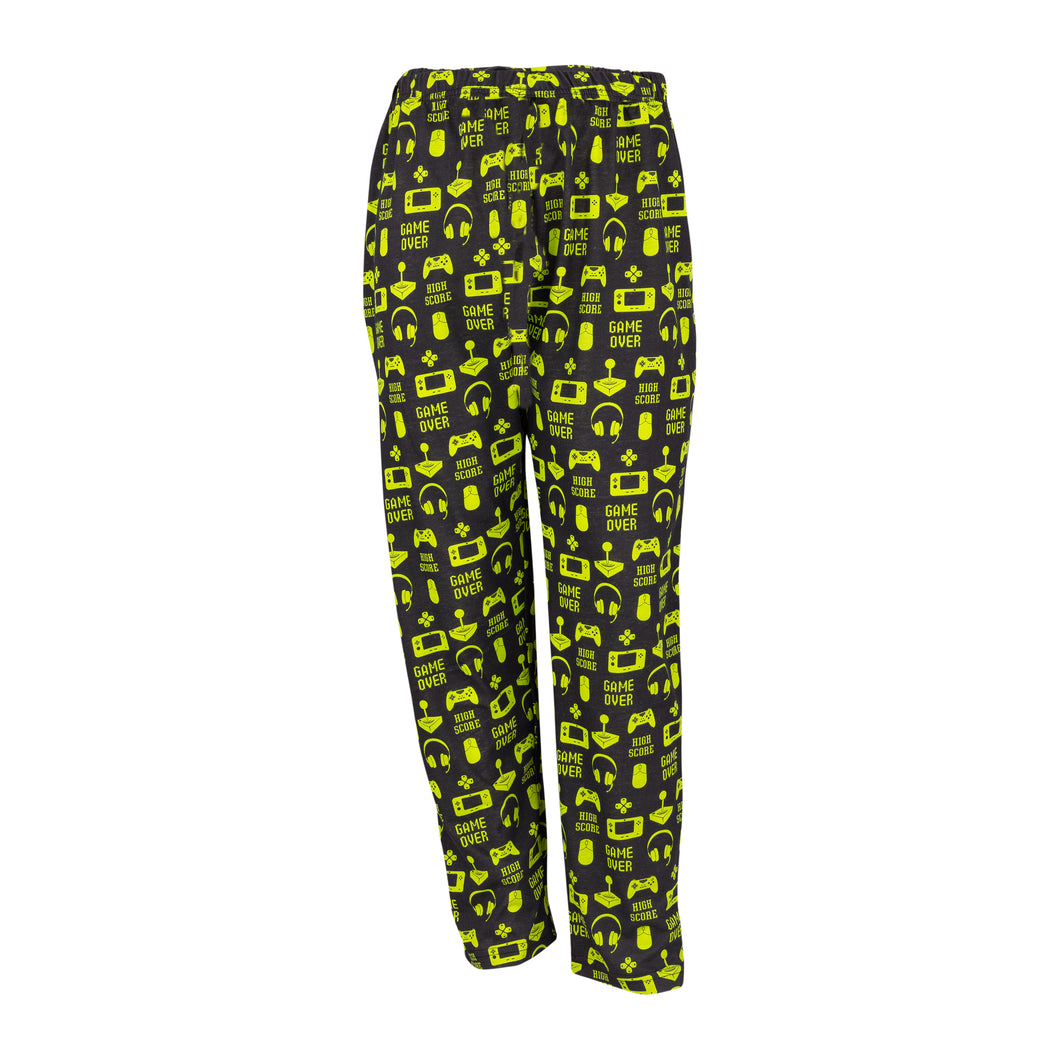 Youth Lounge Pants in Gamer Graphic Print (Black/Lime)