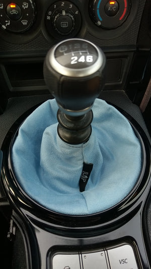 Sky Blue Suede Shift Boot