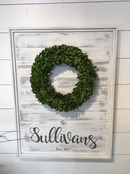 Small Plank Wreath Sign