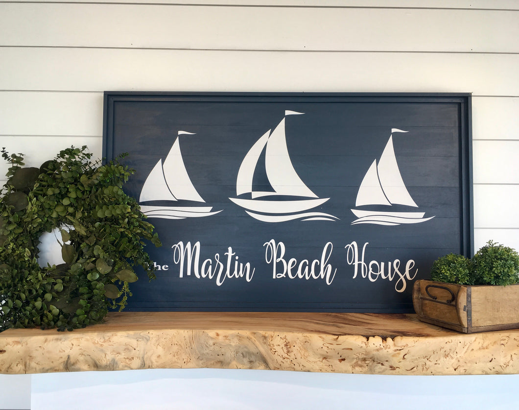 Sail Boats Beach House Sign