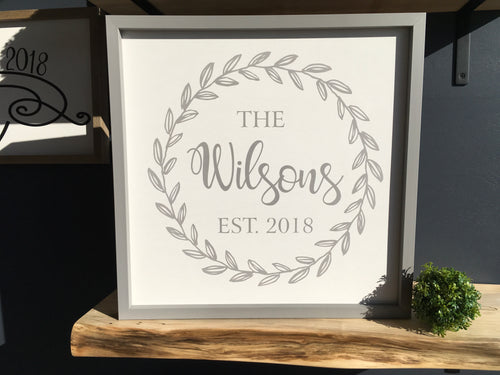 Painted Wreath/Name Sign 18x18 White Background