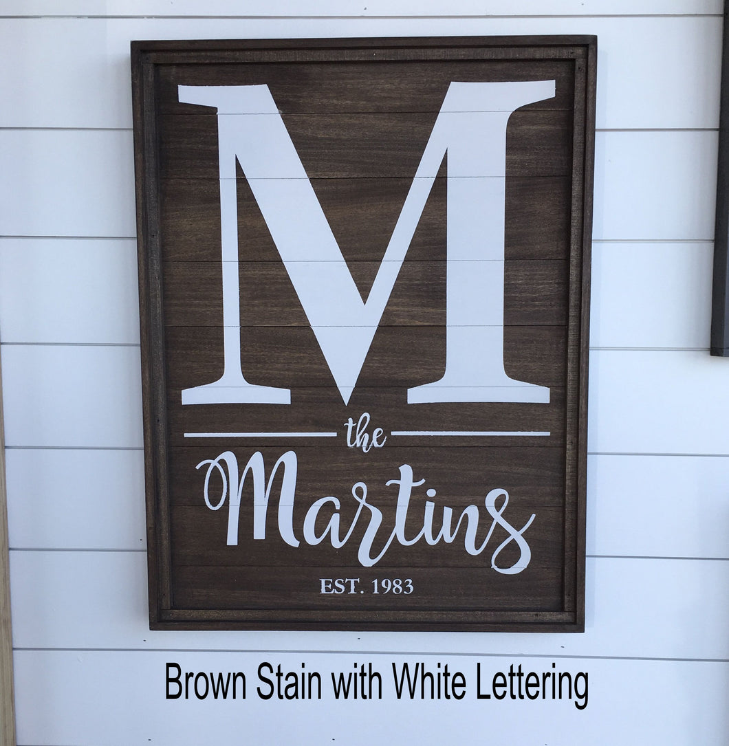 Initial / Name Sign -Brown Stain- Indoor