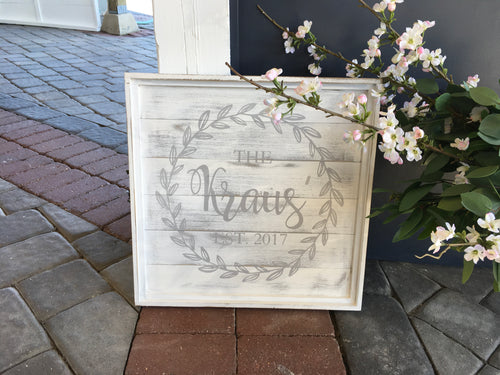 Painted Wreath Name / Date Plank 18x18