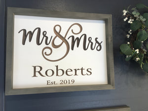 Mr & Mrs Engravable Sign
