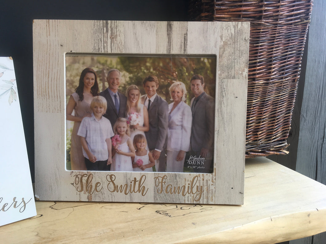 8x10 White Faux Wood Frame - Engravable