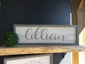 Name / Birthday Sign