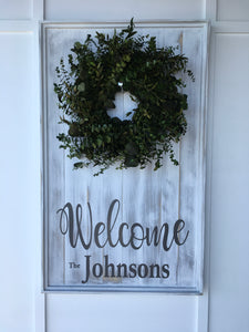 Large Plank Wreath Sign