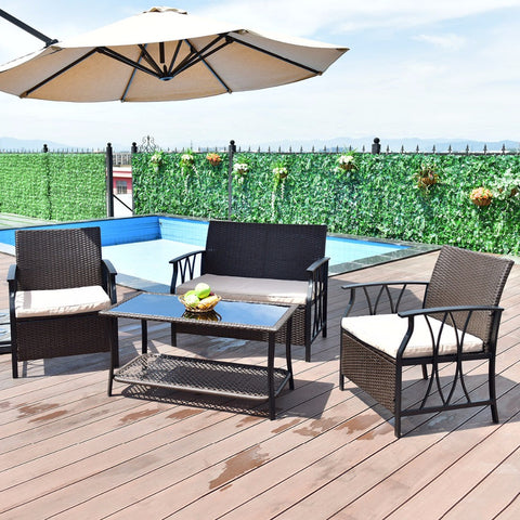 4 PC Outdoor Furniture Set, Table, Sofa Chairs Set With Cushions