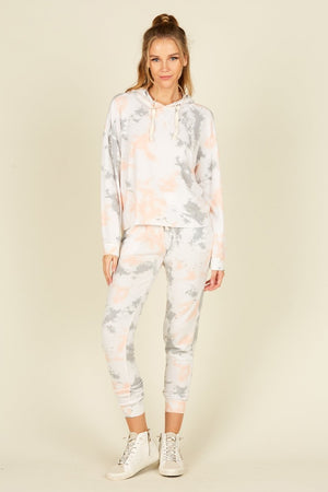 Heidi-Ho2 Vintage Havana Lounge- Grey/ Peach Tie Dye - Set including Joggers and Hoodie