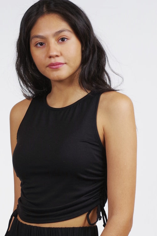 Project Social T -  Rimini Ruched Tank in Black