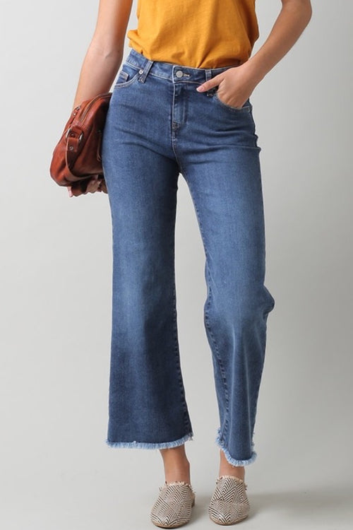 Indi & Cold - Crop Denim Jeans with Fringe Heidi-Ho2