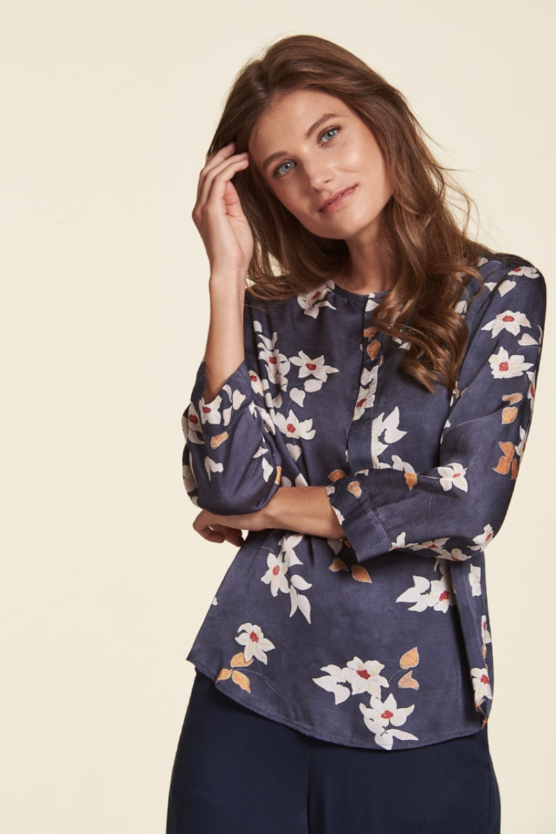 Nile - Satin Print Blouse in Navy