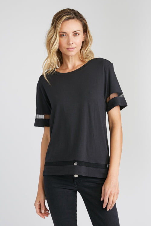 Heidi-Ho2 CHRLDR - Tulle Inserts Wide T-Shirt in Black