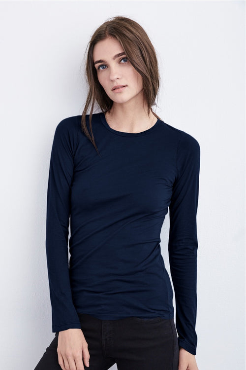 Velvet - Zophina Gauzy Whisper Fitted Crew Neck Tee in Midnight Heidi-Ho2