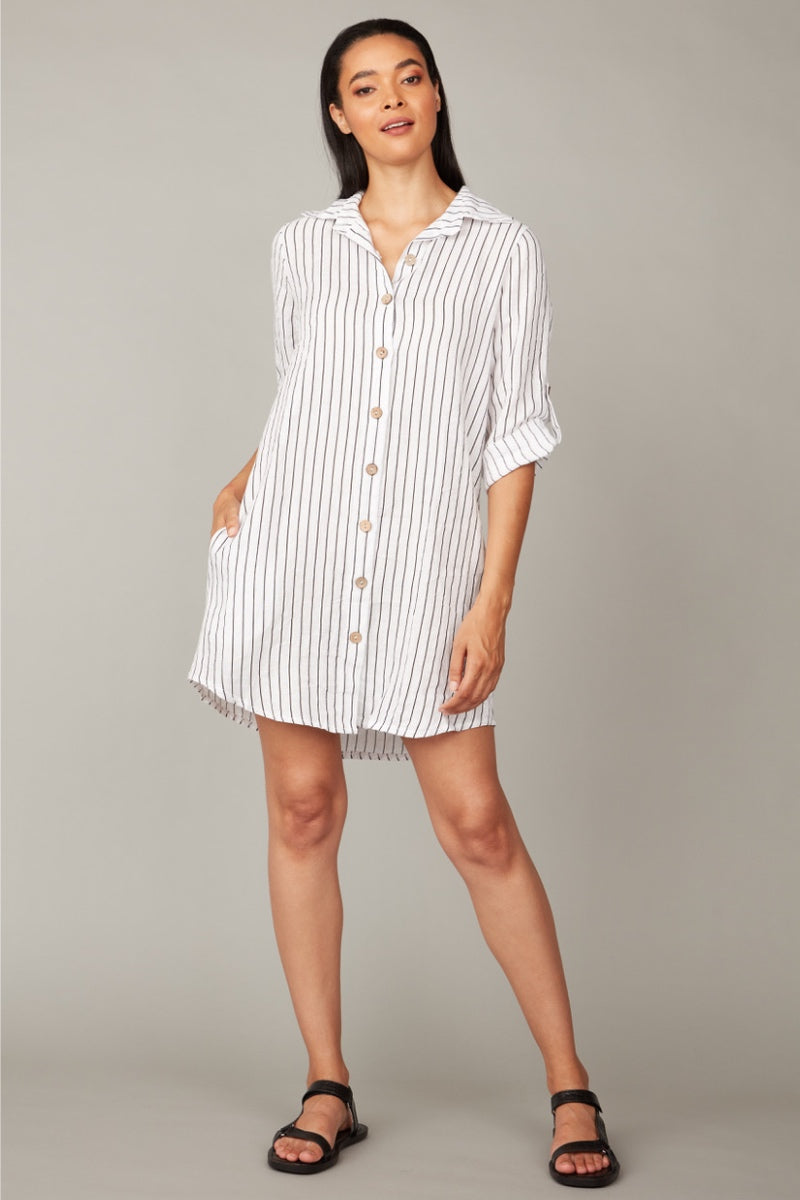 Pistache - Pinstripe Dress in White/Black