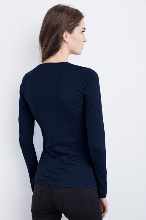 Velvet - Zophina Gauzy Whisper Fitted Crew Neck Tee in Midnight