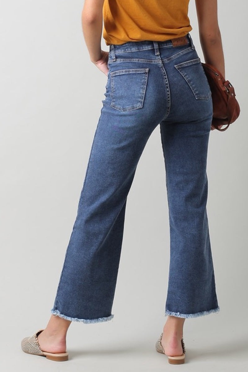 Indi & Cold - Crop Denim Jeans with Fringe