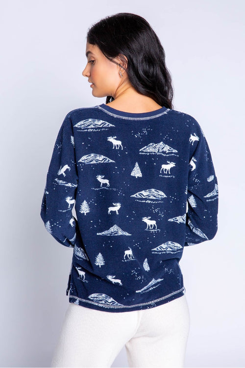 Pj Salvage Lets Get Toasty Moose L/S Top Navy
